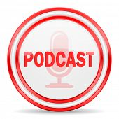 podcast red white glossy web icon