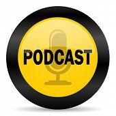 podcast black yellow web icon