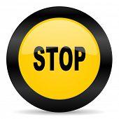 stop black yellow web icon