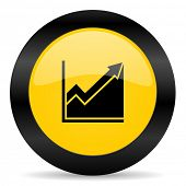 histogram black yellow web icon