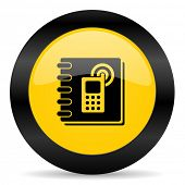 phonebook black yellow web icon