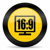 16 9 display black yellow web icon