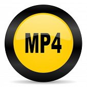 mp4 black yellow web icon