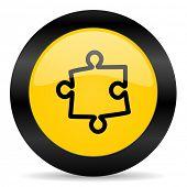 puzzle black yellow web icon