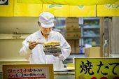 Japanese Omlette at Tsukiji Market in Tokyo