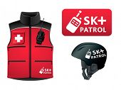 Ski patrol symbol, helmet and jacket isolated