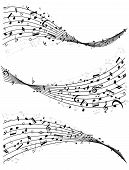Wavy lines of music notes