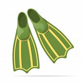 Green Flippers For Diving - Vector Illustration