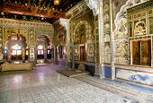 JODHPUR, INDIA - MARCH 08: Interior mughal architectural details of Mehrangarh Fort, March 08, 2012,