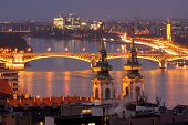 Danube River Night View In Budapest Hungary