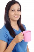 Young Indian Woman With Cup Of Coffee