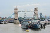Tower bridge and HMS Belfast from London Bridge