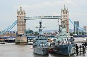 Tower bridge with HMS Belfast in foreground