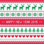 Happy New Year 2015 - Scandinavian winter embroidery pattern