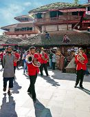 Kathmandu Street Life. Musiciants Playing At Relogious Ceremony. Nepal