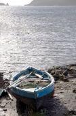 Постер, плакат: Рука построена родной рыбацкой лодке на берег Бекия