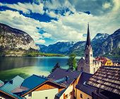Vintage retro effect filtered hipster style travel image of Austrian tourist destination Hallstatt v poster