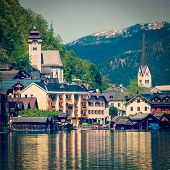 Vintage retro effect filtered hipster style travel image of Austrian tourist destination Hallstatt v