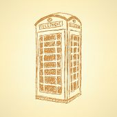 Sketch London Phone Cabin, Vector  Background