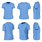 All views men's blue short sleeve t-shirt design templates (front, back, half-turned and side views). Vector illustration. No mesh.