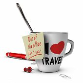 picture of sabbatical  - Mug with I love travel inscribed on it and a note with out of office for one year - JPG