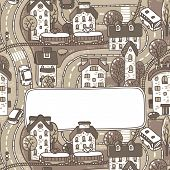 Greeting card with city pattern and a window for text