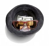 Dollars In A Black Hat With Sun glasses