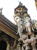 image of cult  - Wooden temple cult beautiful architectural structure east - JPG