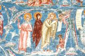 image of suceava  - Beautiful details of an ancient fresco painting depicting the birth of the Holy Child - JPG