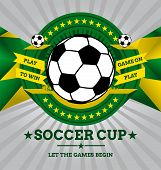 Vector Soccer Emblem With Geometric Background In Brazil Flag Colors.