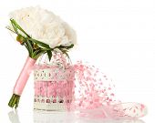 Beautiful wedding bouquet in decorative birdcage isolated on white