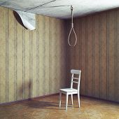 chair and noose in empty grunge room. 3d concept
