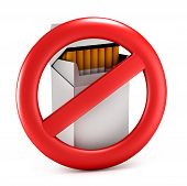No smoking. On the dangers of smoking. Cigarette pack. Prohibitory sign. Isolated on white backgroun