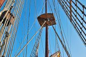 stock photo of galleon  - Ropes of a galleon a large multi - JPG