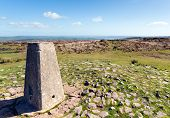 Trig point at Black Down the highest hill in the Mendip Hills Somerset in south-west England UK