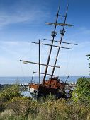 Replica of Grande Hermine ship, River St Lawrence, Ontario, Canada