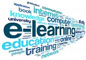 E-learning concept in word tag cloud on white