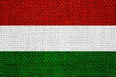 image of hungarian  - flag of Hungary or Hungarian banner on linen background - JPG