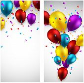 Celebration banners with colorful balloons and confetti. Vector illustration.