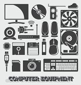 Vector Set: Computer Equipment Icons and Objects