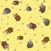 Seamless Pattern With Cute Little Hedgehogs