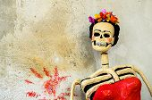 Day Of The Dead. Catrina On Old Wall