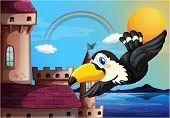 Illustration of a bird near the castle with a rainbow in the sky