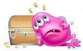 Illustration of a pink beanie monster beside the wooden treasure box on a white background