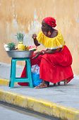 Palenquera Woman Sells Fruits
