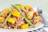 stock photo of filipino  - Pinakbet or pakbet is an indigenous Filipino dish from the northern regions of the Philippines made from mixed vegetables and longaniza suasage steamed in fish or shrimp sauce - JPG