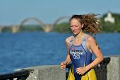 DNEPROPETROVSK, UKRAINE - MAY 24, 2014: Mariia Velykotska of Ukraine runs on the third stage of ETU