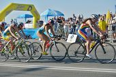 DNEPROPETROVSK, UKRAINE - MAY 24, 2014: Female athletes race on the cycling stage of ETU Sprint Tria