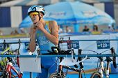 DNEPROPETROVSK, UKRAINE - MAY 24, 2014: Yaroslav Chernenko of Ukraine in the transition area during