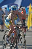 DNEPROPETROVSK, UKRAINE - MAY 24, 2014: Roksolana Ishchuk of Ukraine races in the cycling stage of E